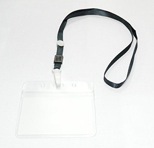 【CURCUS(サーカス)】 名札 ホルダー ネックストラップ/首かけ 吊り下げ式 名刺 IDカード 用 カラー全8色 収納袋とも (ブラック 20個)