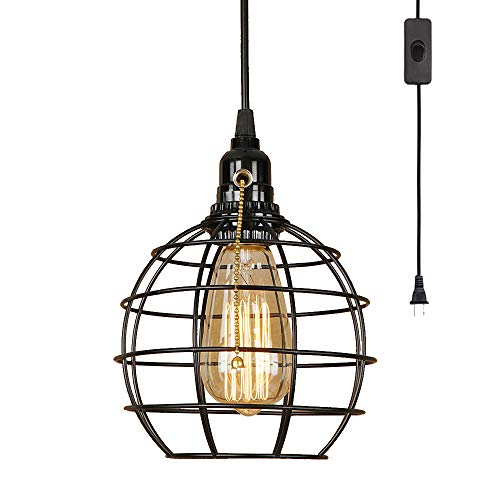 EFINEHOME 1 Light Hanging Swag Lamp with Plug in 15 Ft Cord...