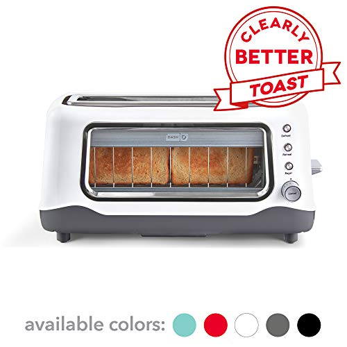 Dash DVTS501WH Clear View Extra Wide Slot Toaster with Stainless Steel Accents + See Through Window, Defrost, Reheat + Auto Shut Off Feature For Bagels, Specialty Breads & Other Baked Goods, White