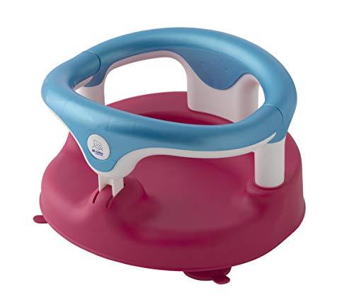 Rotho Babydesign Siège de Bain, Avec Anneau Rabattable et Sécurité Enfants, 7-16 mois, Jusqu'à max. 13kg, Sans BPA, 35x31,3x22cm, Framboise/Turquoise/Blanc