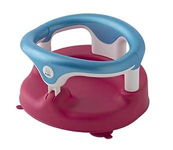 Rotho Babydesign 20429021901 - Asiento para bañera, Anillo plegable, Cierre de seguridad para niños, 7-16 meses, Hasta 13kg, Sin BPA, 35x31,3x22cm, Frambuesa perla/Aguamarina perla/Blanco