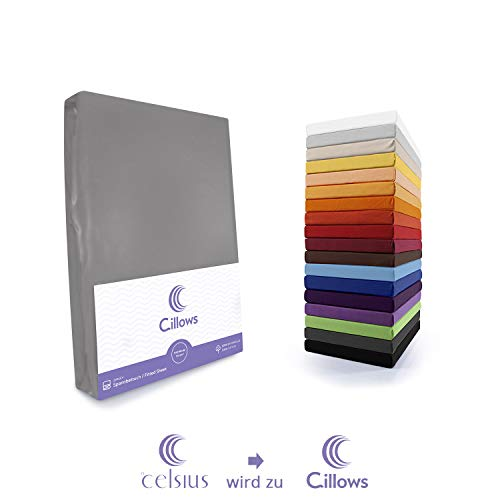 Celsius Jersey Spannbettlaken Spannbetttuch 90x200-100x220 cm 100% Baumwolle Bettlaken Farbe: Dunkelgrau 160 g/m2 Qualität