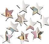 Szeridan Juego de 10 espejos de acrílico con forma de estrella, 8 x 8 cm y 3 mm de grosor, autoadhesivos, para pegar en la pared, decoración de pared