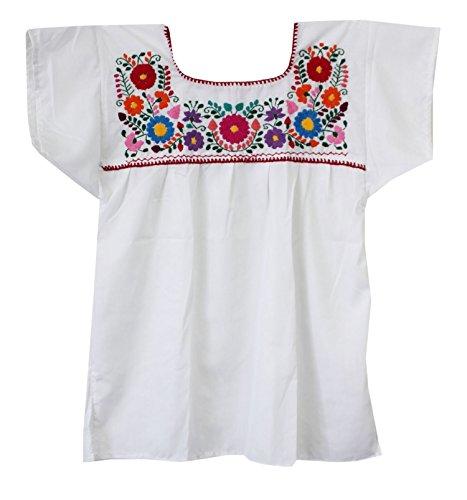 Mexican Peasant Puebla Blouse, White, 3X