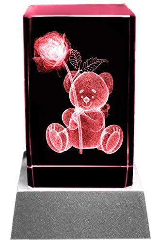 Kaltner Präsente Stimmungslicht - Das perfekte Geschenk: LED Kerze/Kristall Glasblock / 3D-Laser-Gravur Romantik Teddy mit Rose