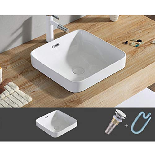 Lavabo de piedra,Cuenca sanitaria Lavabo del baño Lavabo sobre encimera Lavabo óvalo de cerámica (Size : D)