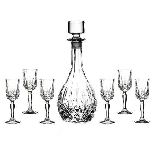 Lorren Home Trends - 51200 RCR Opera Liquor Set, Clear, 7-Piece