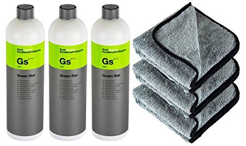 PARTS4CARE 3X KOCH Chemie GS Green Star Universalreiniger 1 Liter & P4C Mikrofasertuch