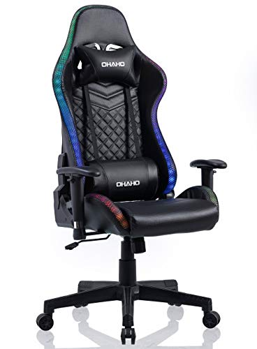 OHAHO Gaming Chair RGB Lighting High Back Computer Chair PU Leather Desk...