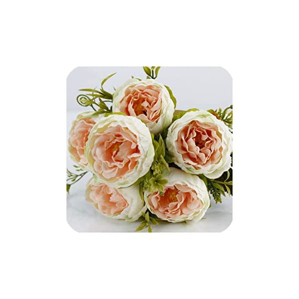 Wedding Bouquet Bridesmaid Holding Bouquet 6 Heads Artificial Silk Peony Flower Arrangement Office Home Party Decorations
