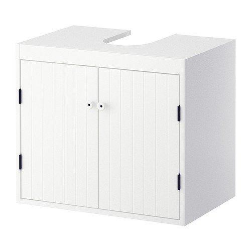 IKEA SILVERÅN Waschbeckenunterschrank in weiß; mit 2 Türen