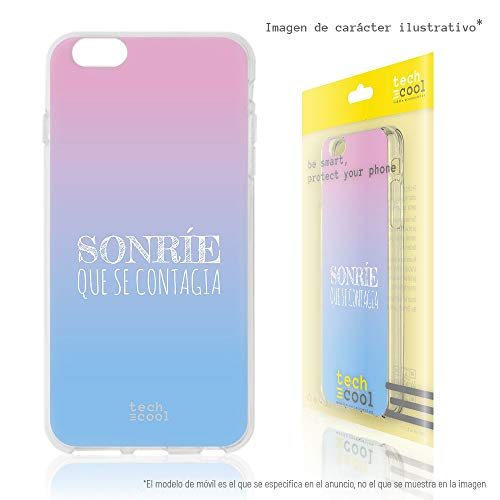 Funnytech Funda Silicona para Samsung Galaxy S6 Edge Plus [Gel Silicona Flexible, Diseño Exclusivo] Frase Sonrie Que se contagia Vers.1