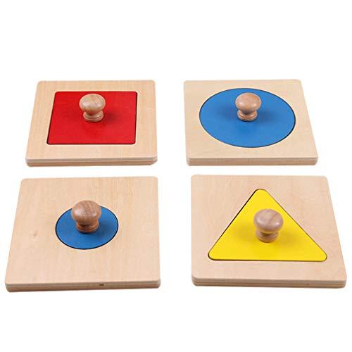 TOYANDONA 4 Stück Geometrische Puzzle Board Montessori Mehrere Form Puzzle Knopf Holzpuzzle Vorschule Lernmaterial Spielzeug Lernspielzeug