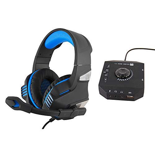 Xtreme Fusion Headset + Sound Box 7.1 Binaural Diadema Negro, Azul - Auriculares con micrófono (Consola de Videojuegos + PC/Videojuegos, Binaural, Diadema, Negro, Azul, Giratorio, Alámbrico)