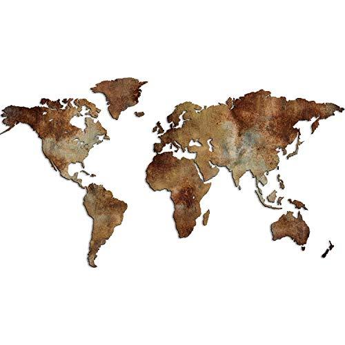 Giallobus - Mappa del Mondo - Edizione Speciale - Stile Industriale Effetto RUGGINE - Decorazione da Parete in Legno MDF - 190X105 CM