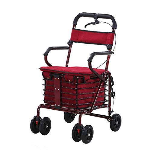 JYTFZD YANGHAO-Carrito de Compras silencioso Plegable- Pulso Pulso Pulso Pushing Scooter Multifuncional Viejo CARRERO DE Compras DE Compras (Color: Rojo) / ZDGWC-15 XBYZDGUC-5 (Color : Red)