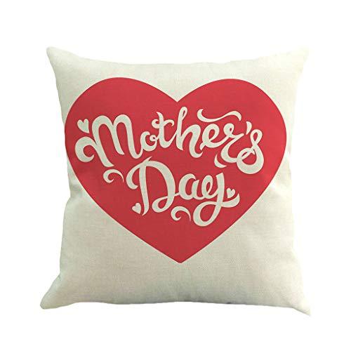 Wokasun.JJ Best Mom Quote Printing Pillowcase Super Soft Mother's Day Linen Pillowcase Sofa Pad Set Home Decoration 1PC(B,45x45cm)