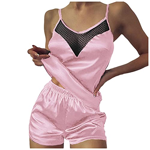 Lenfeshing Pijama de Satén con Cuello En V Sexy para Mujer Top de Tirantes Babydoll con Costuras de Malla + Pantalones Cortos Lencería de Luna de Miel Babydoll de Lencería de San Valentín