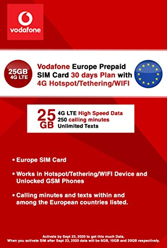 Vodafone Europa vodafone 25gb 4g LTE high Speed ??Data! SIM-Karte mit Hotspot/tethering/WiFi mit bis zu 4g LTE high Speed ??prepaid. 30 Tage-plan (Data Promo bis 23. September 2020)
