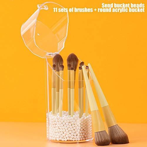 ZJIAN Pinceaux de Maquillage,Pinceau de Maquillage avec Support Pinceaux de Maquillage Set Foundation Brush Poudre Brush Fard à paupières Brush Lip Brush (11 Pcs,Yellow)
