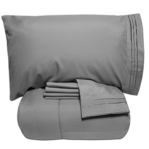 Sweet Home Collection Luxury 5 Piece Bed-In-A-Bag Solid Color Comforter and Sheet Set, Queen, Gray