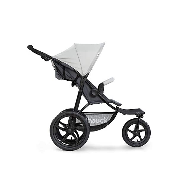 Hauck Runner, Jogger Style, 3-Wheeler, Pushchair with Extra Large Air Wheels, Foldable Buggy, For Children from Birth to 25kg, Lying Position - Silver Grey Hauck LONG USE - This 3-wheel pushchair is suitable from birth (in lying position or in combination with the 2in1 Carrycot) and can be loaded up to 25kg (seat unit 22 kg + basket 3 kg) ALL-TERRAIN - Thanks to the big air wheels - back 39cm diameter, front 30 diameter – as well to the swiveling and lockable front wheel, this jogger style pushchair can be used on almost any terrain COMFORTABLE - Thanks to adjustable backrest and footrest, sun canopy, large shopping basket, and height-adjustable push handle 12