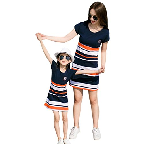 LUCKDE Partnerlook Mutter Tochter Shirtkleider, Mutter Tochter Kleid Sommerkleider Streifen Strandkleider Wickelkleider Hemdkleid Jerseykleid Sportlich Family Matching Outfits (S, Mutter)