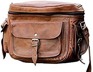 Vintage Leather Camera Dslr Bag Spacious with Pockets Compartments Shoulder Strap Fashionable Bag