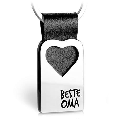 FABACH Herz Schlüsselanhänger mit Gravur aus Leder - Oma Geschenk Anhänger für Geburtstag - Beste Oma