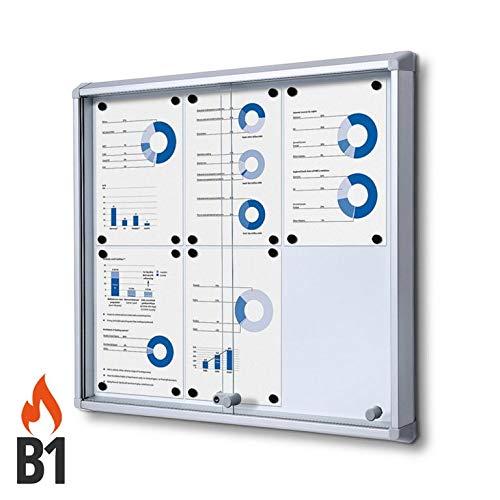 Vitrine 6x A4 B1 Aluminium avec Portes Coulissantes Infokasten Intérieur Protection contre L'Incendie Brandsicher Rond Sicherheitsecken