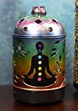Ebros Gift Lotus Flower Mandala Wheel Root Chakra Zone Rainbow Colors Wiccan Essential Oil Diffuser with Colorful LED Lights and Electronic USB Power Cord Yoga Meditation Home Aromatherapy Accessory