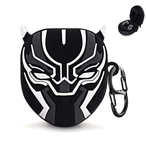 TOLUOHU for Galaxy Buds Live Case[2020], Soft Silicone Anti-Break & Shockproof Protective Cute Cover 3D Anime Character Designed Compatible with Samsung Galaxy Buds Pro Case[2021](Black Panther )