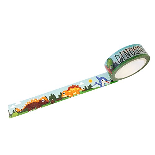 Wrapables Unique Designs Washi Masking Tape, 15mm x 10m Dinosaurs