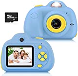 Sanyipace Kids Toys Camera for 3-6 Year Old Girls Boys, Compact Cameras for Children, Best Gift for 5-10 Year Old Boy Girl 8MP HD Video Camera Gifts,Blue(16GB Memory Card Included)