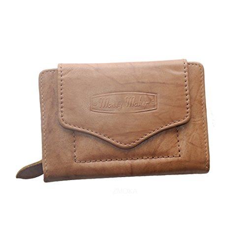 Money Maker Damen Geldbörse Portemonnaie Geldbeutel aus Leder im handlichen Format in versch. Farben - präsentiert von ZMOKA® (Tan)