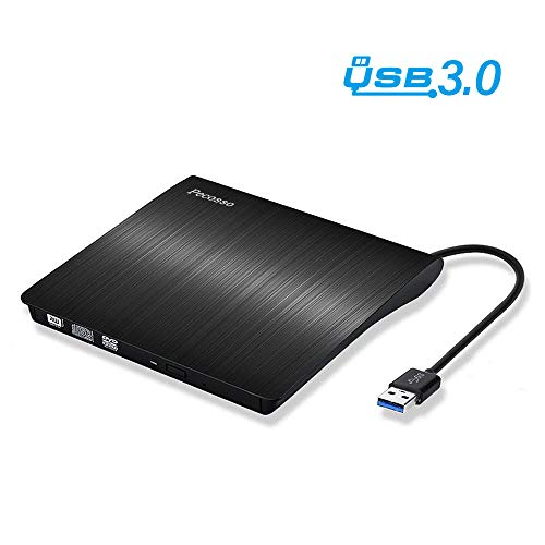 Pecosso Externe CD/DVD Laufwerk USB 3.0, Portable Slim CD/DVD-RW Brenner für alle Laptops/Desktop; PC unter Windows 7/8/10 und Mac OS für Apple MacBook, MacBook Pro, MacbookAir, iMac(Schwarz)