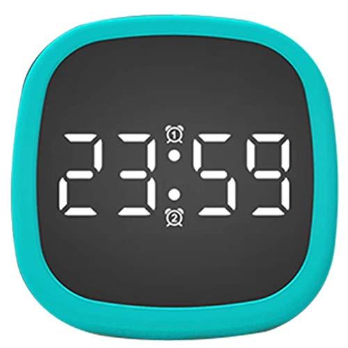 WQTT Awakening Clock LED Siliconen Wekkers Siliconen Elektronische Tafelklok Kalender Perfectie Spraakbesturing (Color : Blue)