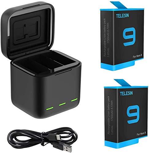 AuyKoo 2 Stück Akkus 1750mAh + 3-Kanal-Ladegerät für GoPro Hero 9 Black, Schnellladebatteriespeicher-Tragetasche + 2er-Pack-Akkus mit USB-Typ-C-Kabel für GoPro Hero 9 Black
