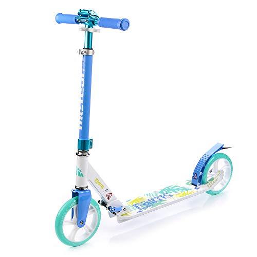 Meteor® Holiday Scooter: Big Wheel 180 City Kick Scooter a Pedale di Scooter Pieghevole, per Adulti e Bambini Roller, Molto Lunga Durata – Fino a 100 kg (PALMS2)