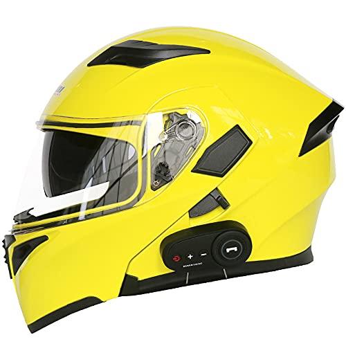 YGXS Bluetooth Helmet, Anti-Fog Double-Sided Mirror Full Face Helmet 3000 Mah Battery Good Breathability Good Sound Quality Suitable for Four Seasons,B,XXS