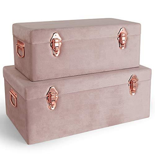 Beautify 2-er Set Rosa-Aufbewahrungskoffer aus Samt - Kasten/Truhen/Boxen - Für Schlafzimmer, Wohnzimmer, Ankleidezimmer, Flur - Rose Gold Hardware - Lagerung & Organisation - Bettwäsche & Decken