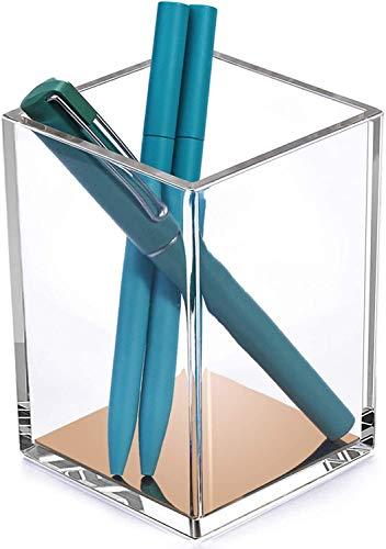 MaxGear Premium Pen Holder Pencil Holder for Desk, Acrylic Pen Cup Pencil Cup Pen Cups for Desk Pen Holders Pencil Holders Makeup Brush Organizer Case Pen Organizer for Office & Home, Clear