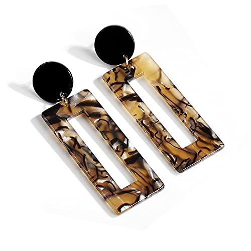 1 pieza de pendientes largos para mujer con diseño de leopardo, acrílico