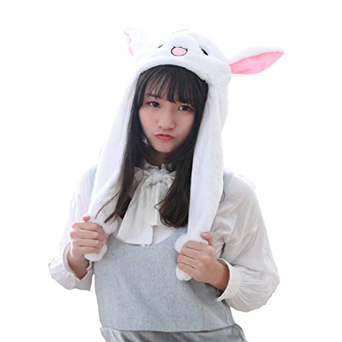 TSACTE Bunny Head Hat Ears Moving Cute Super Soft Plush Animal Hat Gift for Children & Girl, One Size White