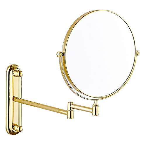 miroir grossissant,Miroir de maquillage Tenture murale télescopique miroir de salle de bains miroir 6 pouces doré
