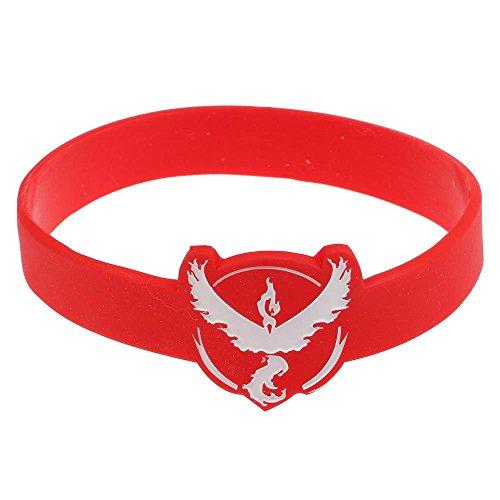 Mmrm Élastique Bracelet en Silicone Bande Poignet Bravoure Instinct pour Pokemon GO Game Fan - Rouge