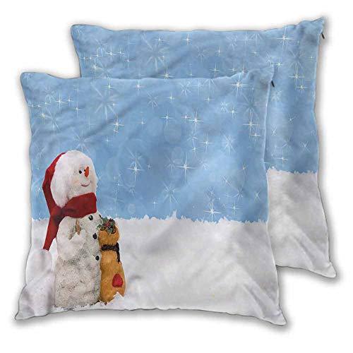 Xlcsomf - Funda de almohada cuadrada para hombre de nieve, 22 x 22 pulgadas, decoración de la habitación de Navidad de invierno, juego de 2