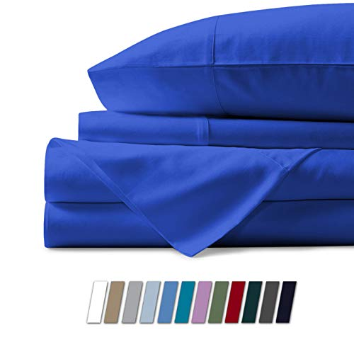 500 Thread Count 100% Cotton Sheet Royal Blue Queen Sheets Set 4Piece Longstaple Combed Pure Cotton Best Sheets For Bed Breathable Soft amp Silky Sateen Weave Fits Mattress Upto 18#039#039 Deep Pocket
