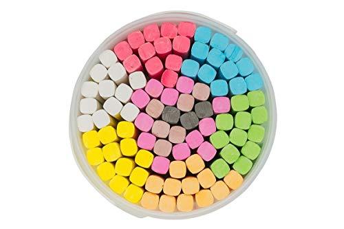 KEENU Straßenmalkreide für Kinder im XXL Eimer 9 Farben, 93 Stück inkl. Schwarz - Kreide Straßenkreide Malkreide Kinderkreide