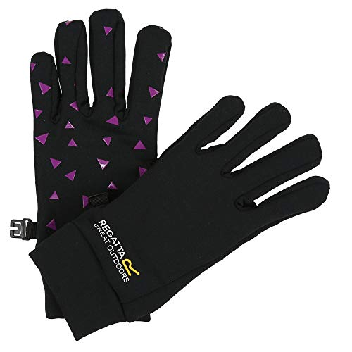 Regatta Jungen Grippy' Lightweight Stretch Rubber Palms Gloves Handschuhe Kinder, Schwarz/Camellia, 4-6